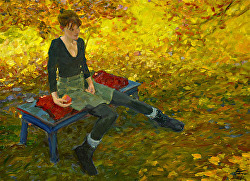 'Fallen Leaves' jarchote@gmail.com Oil on Panel, $3800