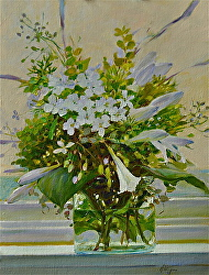 White Flowers on a White Window Sill